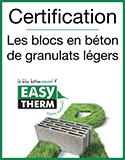 EASYTHERM - Certification les blocs en béton de granulats légers